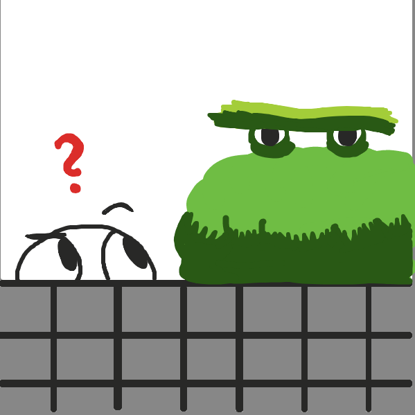 Little guy gets confused by bush monster standing beside him. - Online Drawing Game Comic Strip Panel by Loco-L