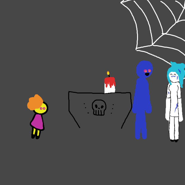 First panel in Halloween Costume Party, again! drawn in our free online drawing game