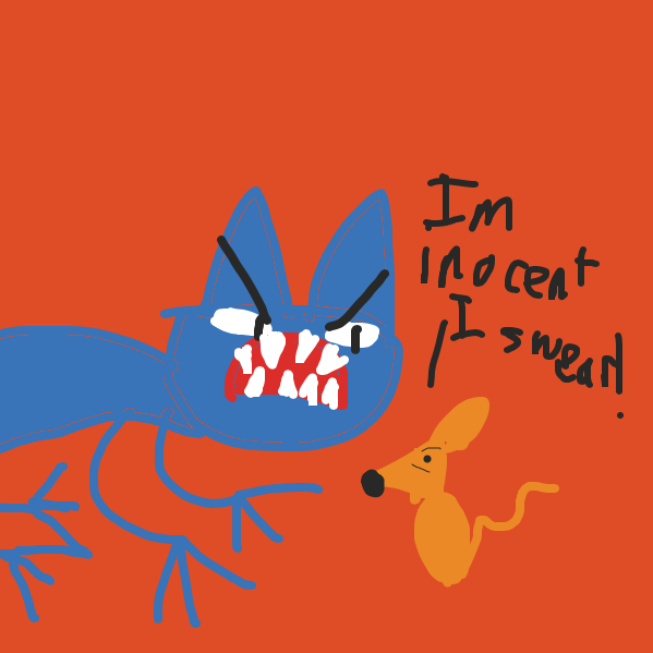 The mouse pleads to the cat to not be eaten - Online Drawing Game Comic Strip Panel by Drawception guy