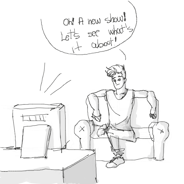 First panel in TV drawn in our free online drawing game
