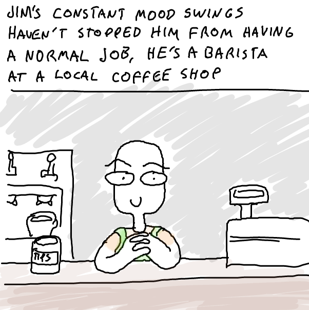 First panel in Jim's friend drawn in our free online drawing game