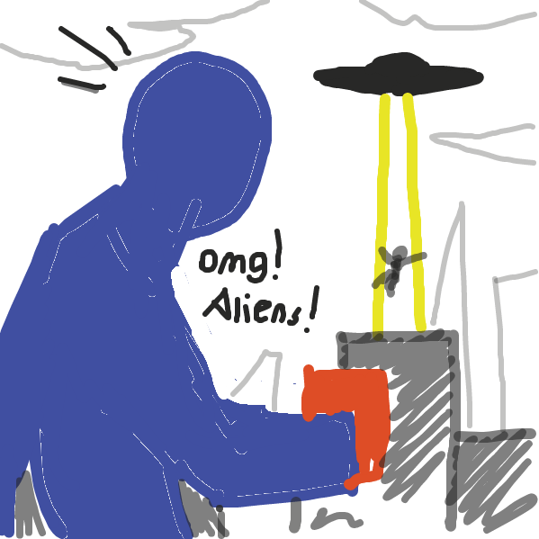 The man hears a strange noise and turns his head to see we are not alone in the universe - Online Drawing Game Comic Strip Panel by dirtyeggplant