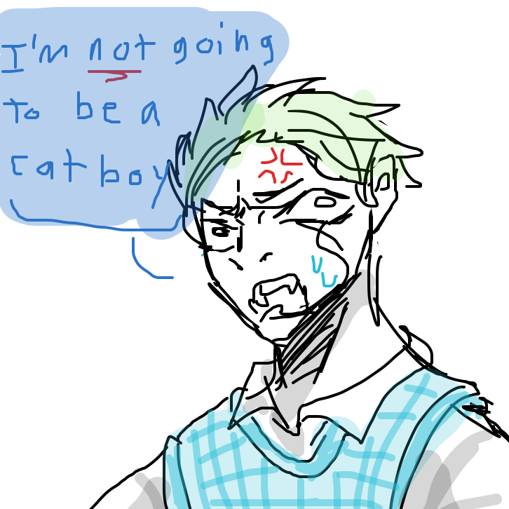 guys how do i convince my oc to be a catboy - Online Drawing Game Comic Strip Panel by rawrwhy