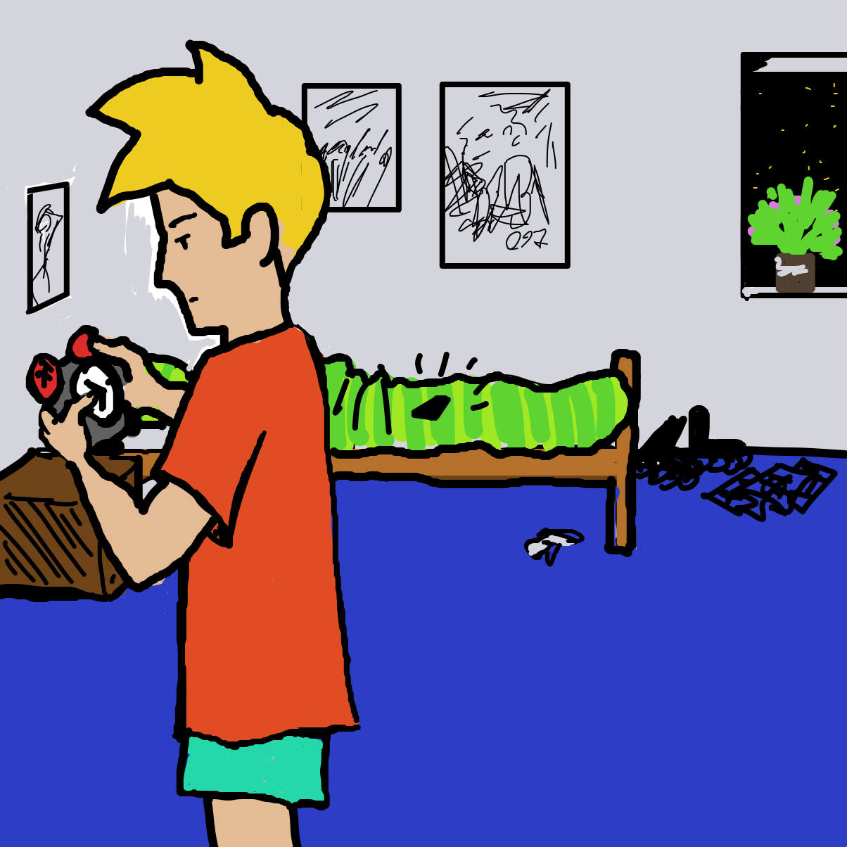 First panel in Sleeplessness drawn in our free online drawing game