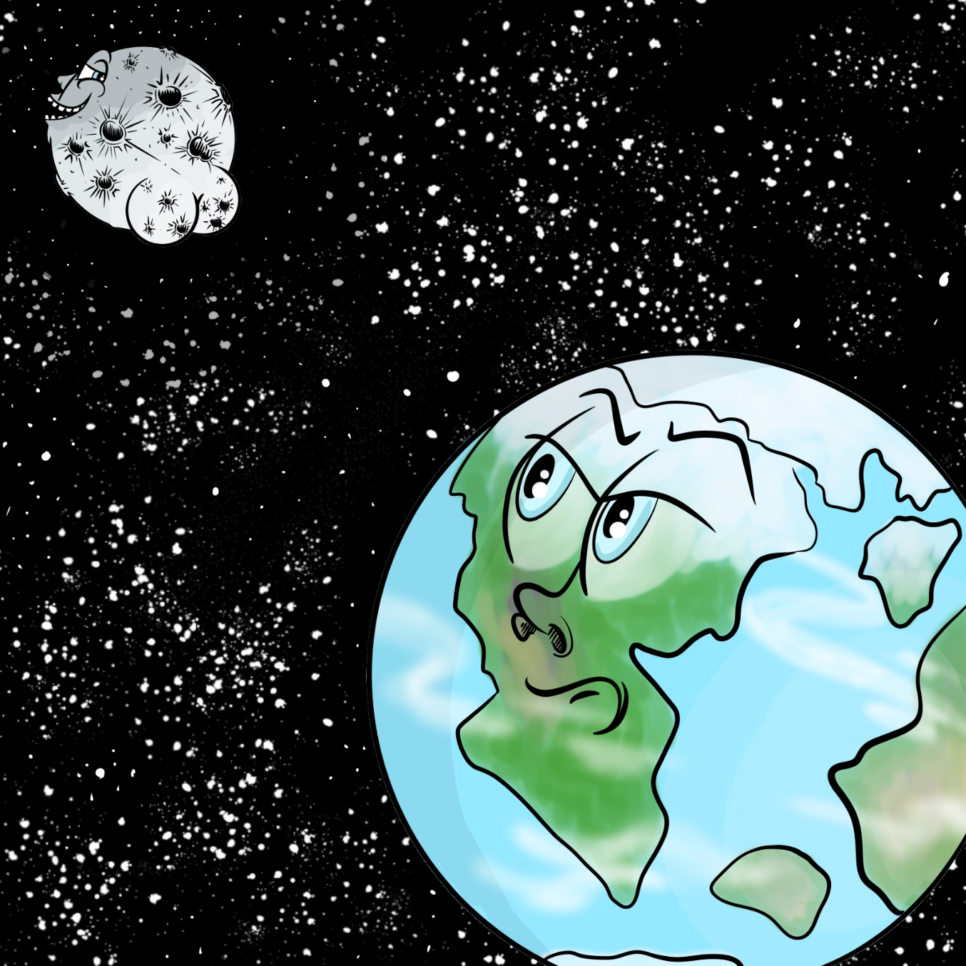 First panel in Luna Mooner drawn in our free online drawing game