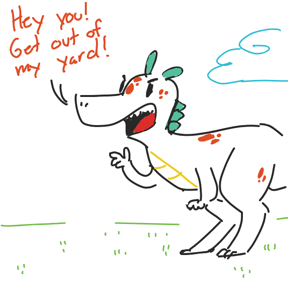 Some troublemaker is intruding in the poor dino man's yard. What could it be? and what could it be doing that's making him upset? - Online Drawing Game Comic Strip Panel by Rendazzle
