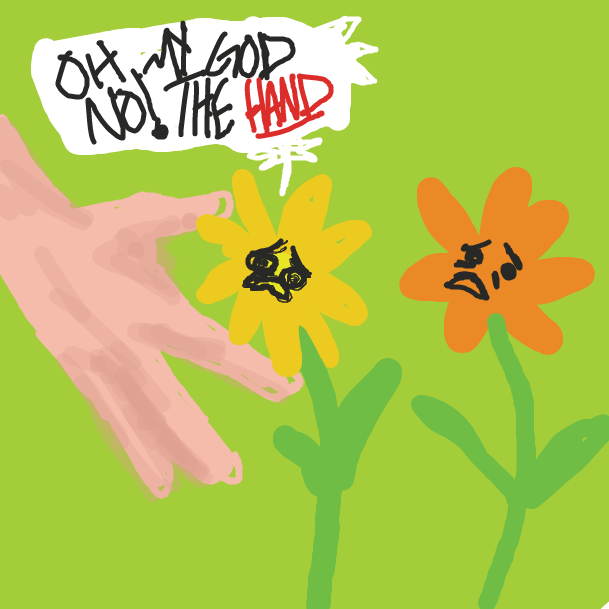 The Hand comes to pluck a flower - Online Drawing Game Comic Strip Panel by Kaeley