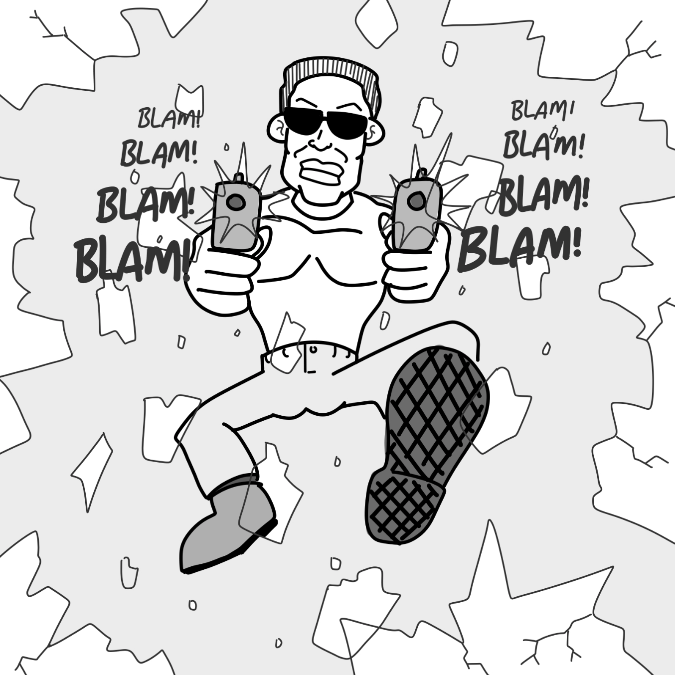 First panel in Tough Guy drawn in our free online drawing game
