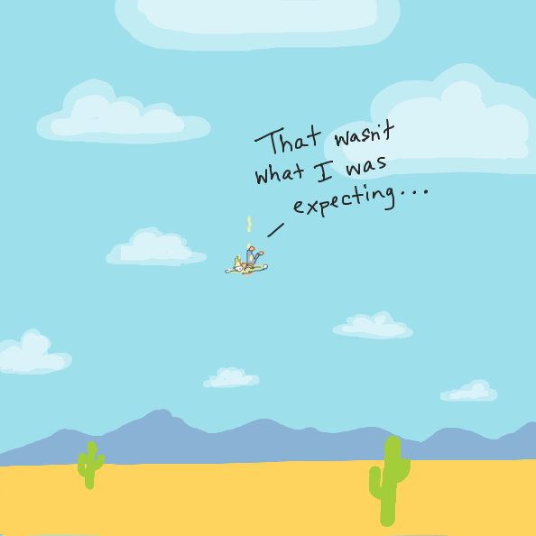 Perhaps he should have been paying attention to the ground? Or parachute? - Online Drawing Game Comic Strip Panel by Simply_Kali