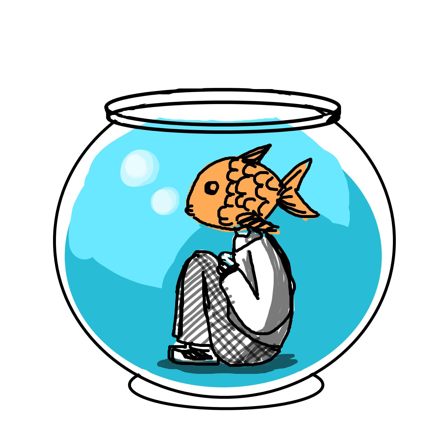 Drawing in Fish bowl  by Juleefish