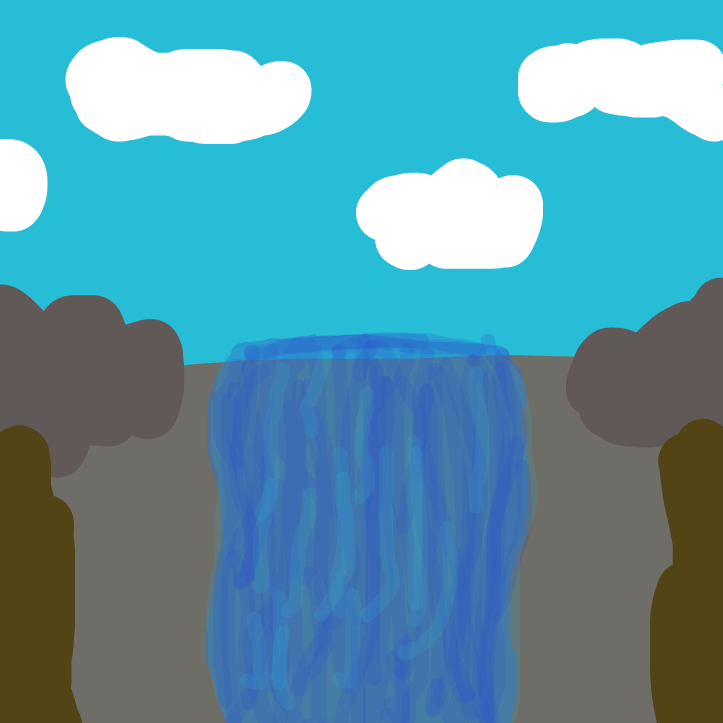 First panel in Finish the waterfall drawn in our free online drawing game