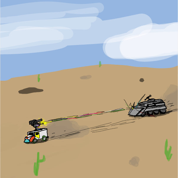 First panel in The chase drawn in our free online drawing game
