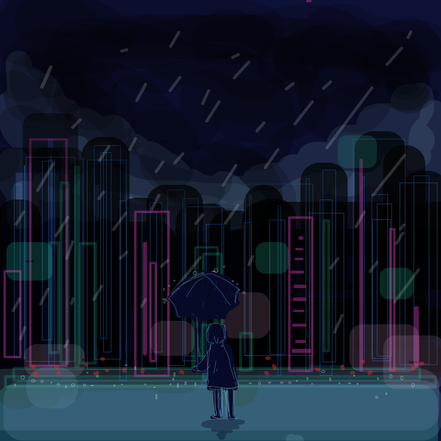 Drawing in Rainy night  by Juleefish