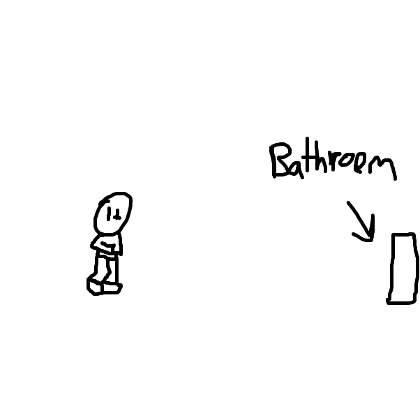 First panel in Using the bathroom drawn in our free online drawing game