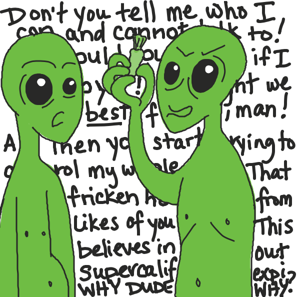 Oh, snap. This alien is pretty ticked off.  - Online Drawing Game Comic Strip Panel by Simply_Kali
