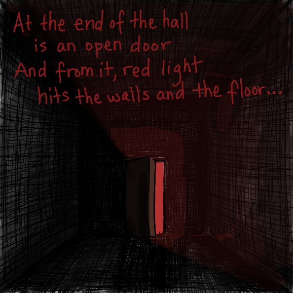 At the end of the hall is an open door, and from it, read light hits the walls and the floor ...  - Online Drawing Game Comic Strip Panel by Simply_Kali