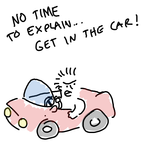 First panel in get in the car drawn in our free online drawing game