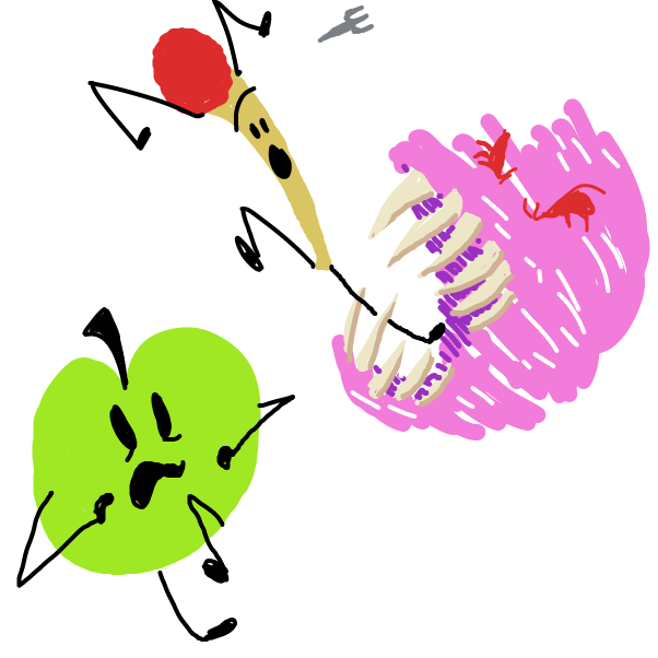 Drawing in Puffball eats pencil from bfb and is mad at green  by Sasha_Cakes