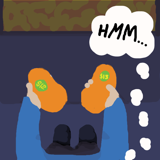 """In first person perspective, a prospective grocery shopper compares the differently priced mangos, thinking """"Hmm...."""" - Online Drawing Game Comic Strip Panel by jamdaddy"""
