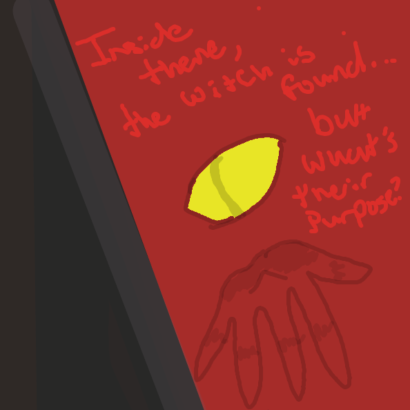 The witch lives in the red door (secret room)...hope that helps a bit. (The witch is inviting the person in)   You can decide the gender of witch lol - Online Drawing Game Comic Strip Panel by Moose-Chan