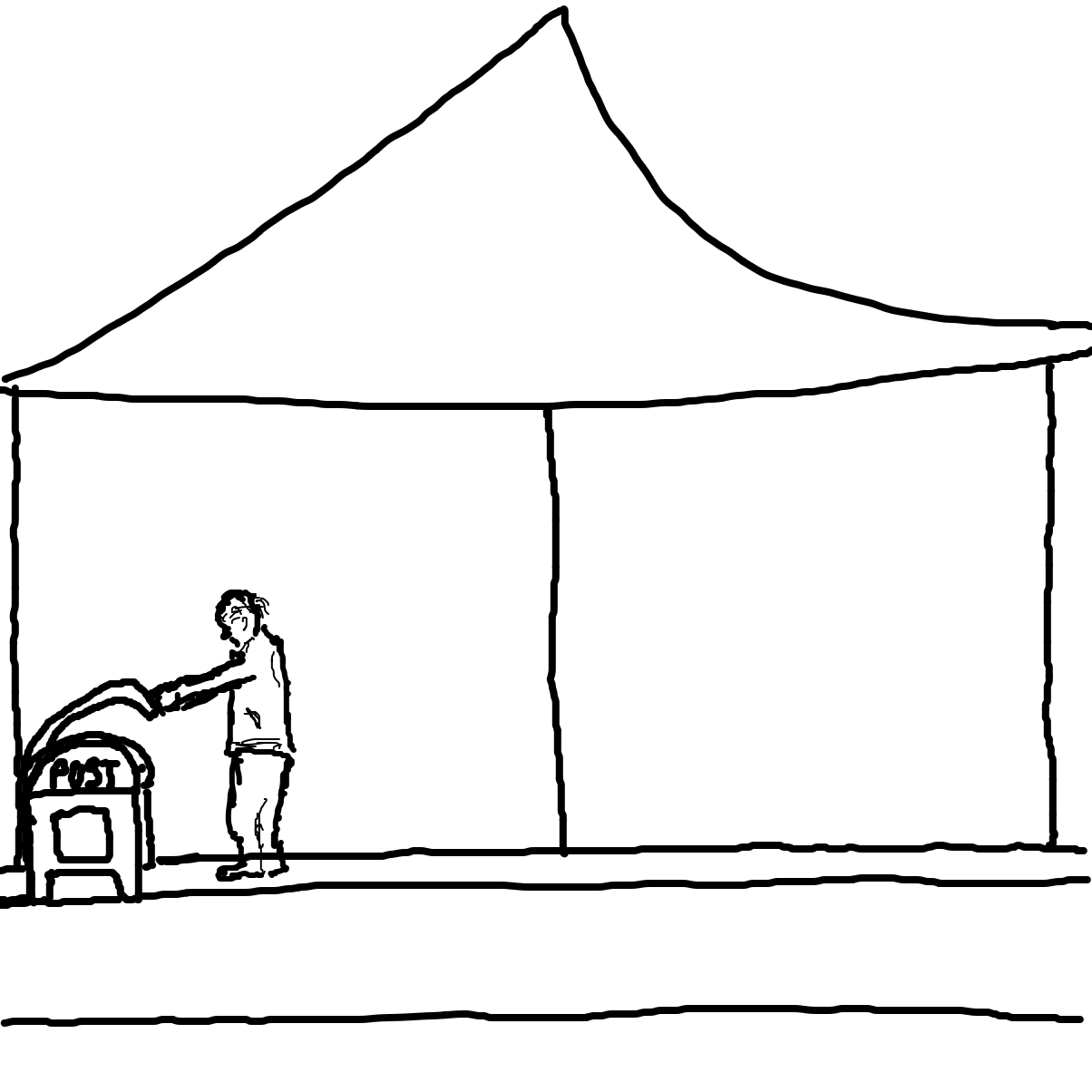 First panel in Anybody in here drawn in our free online drawing game