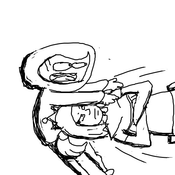Drawing in Baddie does something bad by Izzaro21