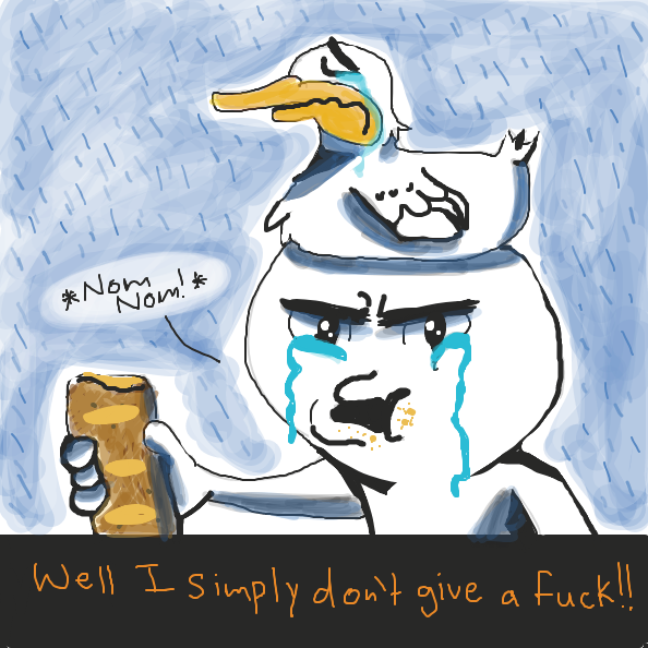 Duckhat guy cries and eats a loaf of bread. He doesn't care.  - Online Drawing Game Comic Strip Panel by Loco-L