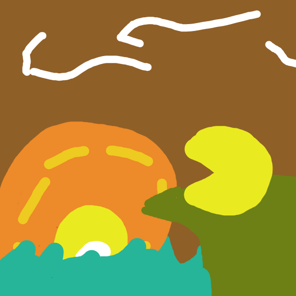 First panel in Pac-Man lookin at a sunset drawn in our free online drawing game