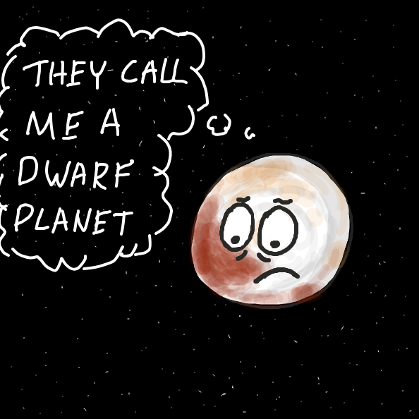 Pluto, sits alone in the 9th orbit, thinking about how the other planets exclude him for being small. (This is not intended to be political, please don't make it political) - Online Drawing Game Comic Strip Panel