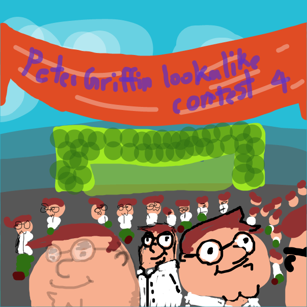 First panel in peter griffin lookalike contest drawn in our free online drawing game
