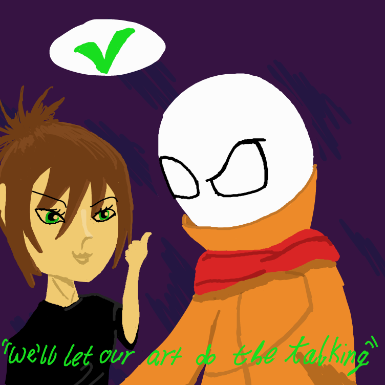 First panel in Artistic Duos drawn in our free online drawing game