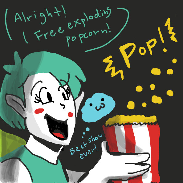 Popcorn Quartet explodes. Fairy and Cloud gets free exploding popcorn.  - Online Drawing Game Comic Strip Panel by Loco-L