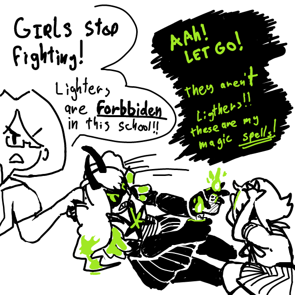 Drawing in Running Out of Panels: Greedy Green Girl by Kawaita