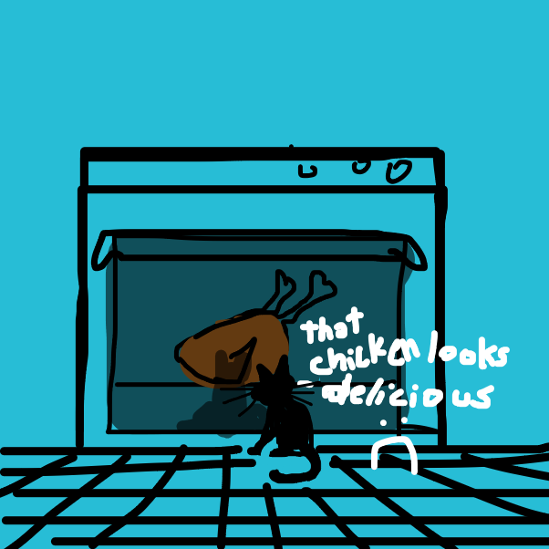 there's a chicken in the oven but it's closed - Online Drawing Game Comic Strip Panel by RafaelH