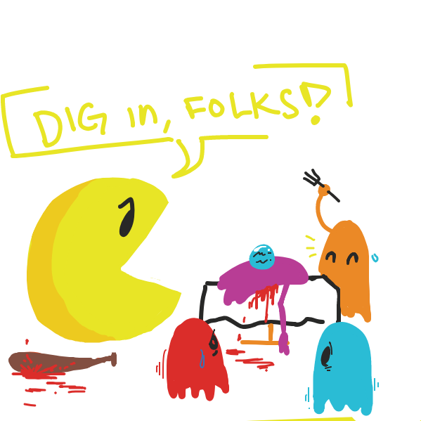 vore (?) - Online Drawing Game Comic Strip Panel by The Burned Man