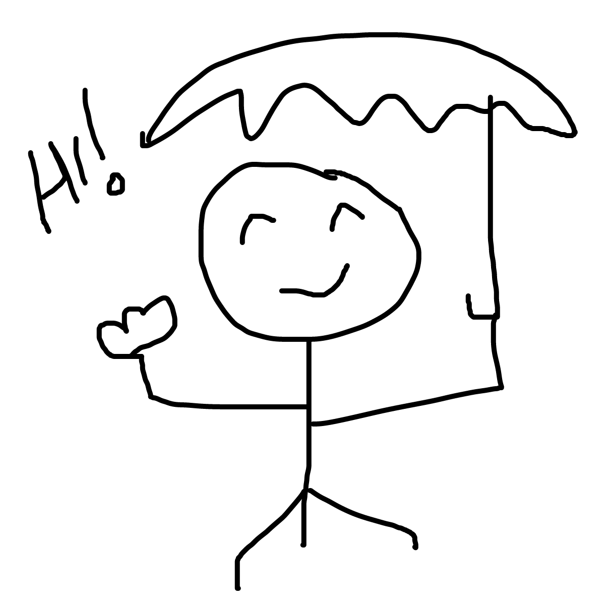 First panel in Rainy Day drawn in our free online drawing game
