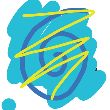 Do you see a yellow zigzag over a Blue swirl over a light blue blob?