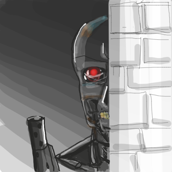 nondescript killer robot  - Online Drawing Game Comic Strip Panel by kurocartoonist