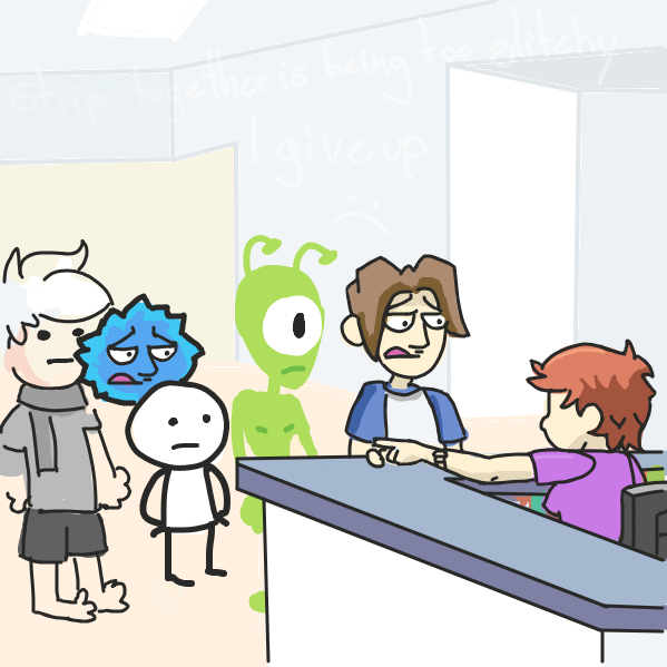soon as i started on the alien i got the paint bucket glitch every time i hit undo so i'm done . . . sorry  - Online Drawing Game Comic Strip Panel by Cake Emoji