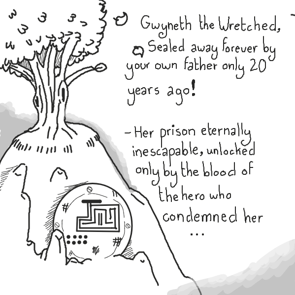so I'm thinking this lil bitch accidentally frees her somehow cus he technically has his father's blood running through his veins or some shit? idk, I tried. - Online Drawing Game Comic Strip Panel by Aesthetic Bagel