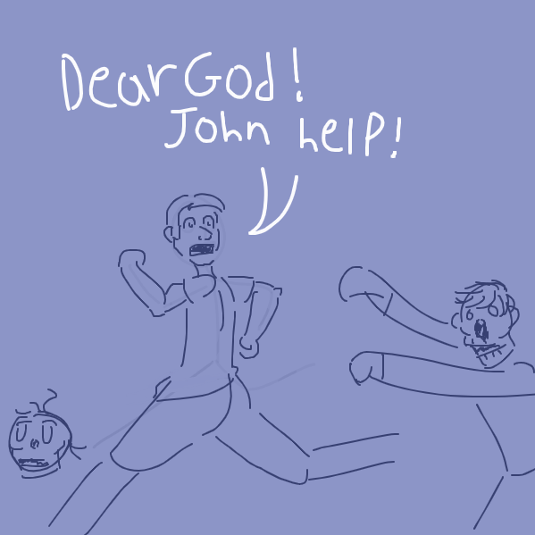 but hes actually being chased - Online Drawing Game Comic Strip Panel by Zipperino