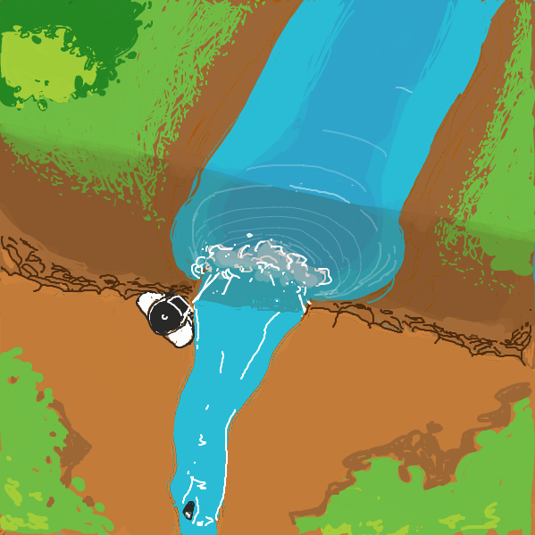 Drawing in A hill with a waterfall... by ironically horny