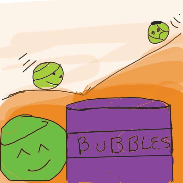 balls falling to bubble barrel. please add goal to panel 2, conflict to panel 3, and resolution to panel 4 , thanx.   - Online Drawing Game Comic Strip Panel