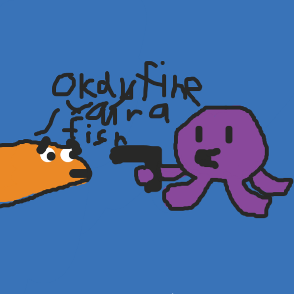 """""""okay fine your a fish"""" - Online Drawing Game Comic Strip Panel by Duncan"""