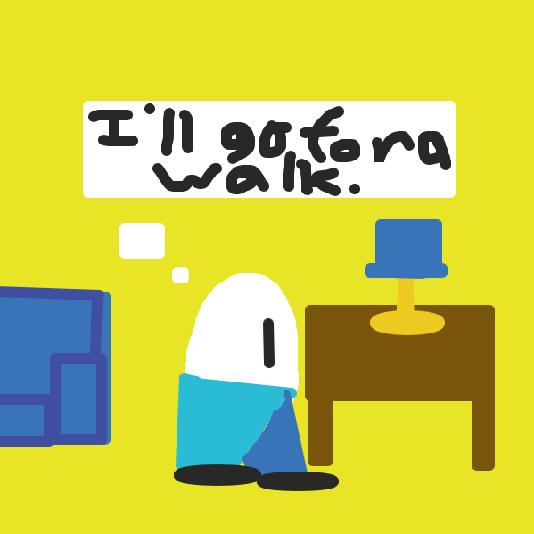 The egg decides to go for a walk. Egg finds something spectacular during the walk. - Online Drawing Game Comic Strip Panel by The Green Flame