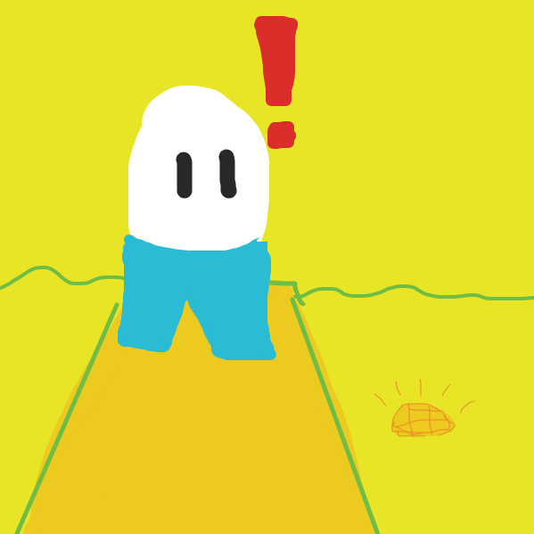 The egg finds a shiny piece of gold during his walk. He's curious to find out what exactly is it. - Online Drawing Game Comic Strip Panel by RobTheWrecker