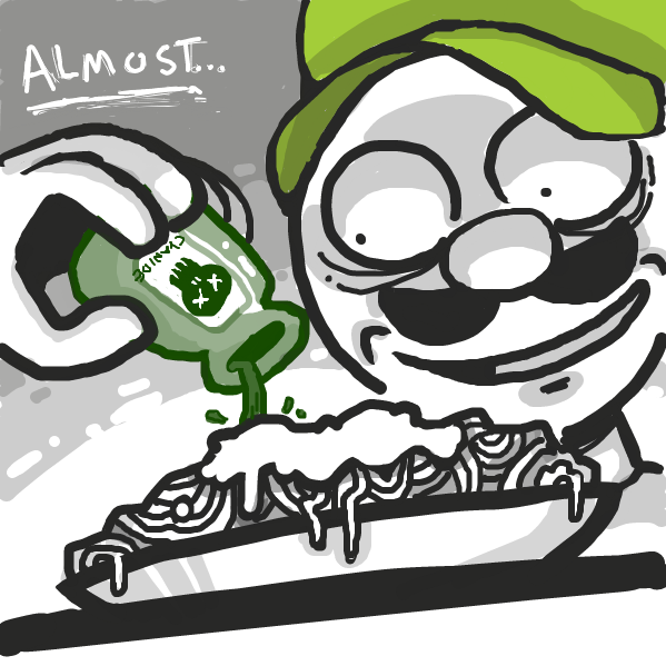 Drawing in luigi gets burnt spaghetti by DewyBob12