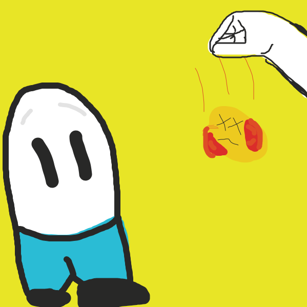 Fortunately, the egg's friend steps in at the last second and punches the bird. - Online Drawing Game Comic Strip Panel by RobTheWrecker