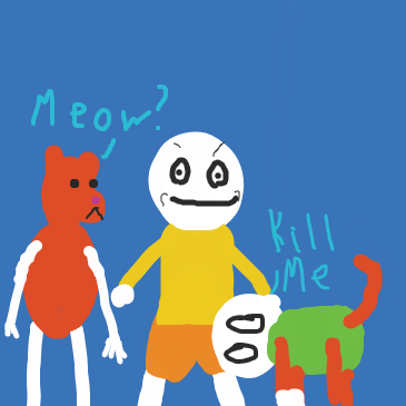 The guy's limbs were switched for a cat's limbs. - Online Drawing Game Comic Strip Panel by Origami Owl
