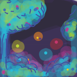 A garden full of strange glowing creatures  - Online Drawing Game Comic Strip Panel